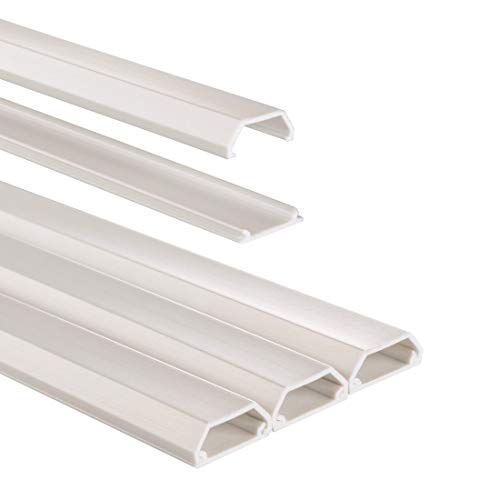 Hama Selbstklebender Kabelkanal weiß (3x Kunstoffleiste 1 Meter Länge, für 3 Kabel, eckige PVC Kabelabdeckung)