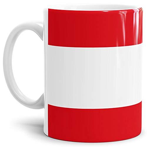 Tassendruck Flaggen-Tasse/Souvenir/Urlaub/Länder-Fahne/Kaffetasse/Mug/Cup - (Österreich, Normal)
