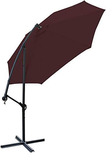 Sonnenschutz Sonnenschirm 3 Meter Außenwerbung Innenhof Regenschirm Hotels Sonnenschutz Curved Pole Regenschirm Side Hand Außen Banana Regenschirm Schutz (Color : Red)