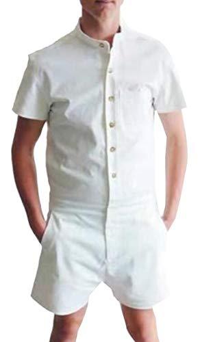 Miracle Men Short Sleeve Jumpsuit Short Cargo Pants Party Rompers Overalls Boyfriend Shorts White L