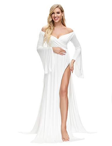 VSNOW Maternity Off Shoulder Long Flare Sleeve Maxi Photography Dress Side Split for Photo Shoot Prop White