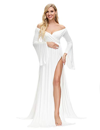 VSNOW Maternity Off Shoulder Long Flare Sleeve Maxi Photography Dress Side Split for Photo Shoot Prop White