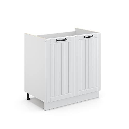 Vicco Küchenschrank Fame-Line Landhaus Unterschrank Hängeschrank Küchenzeile Oberschrank Küche (Korpus Weiß/Front Weiß, Spülenunterschrank 80 cm)