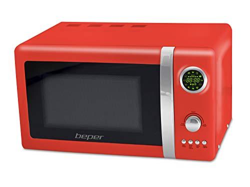 Beper 90.890R Forno Microonde Retro, 20 Litri, Vetro, Rosso