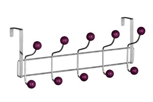 Premier Housewares Hook Türgarderobe, 10 Haken violett, Chrom, Kunststoff, 12x41x17