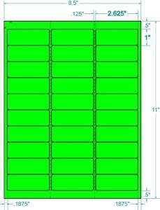 """100 Sheets / 3000 Fluorescent FBA and Word Compatible Size Address Labels 30UP 2.625""""x1"""" 30 Labels Per Sheet. Ink Jet and Laser Guaranteed. Made in USA (Neon Fluorescent Green)"""