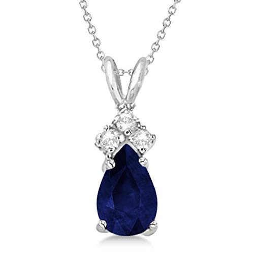 Pendente con zaffiro e diamante solitario Pendente Collana in oro bianco 14 kt (0,75 ct), pendente in oro 14 kt