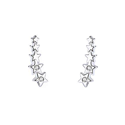GALBLA - Pendientes de plata de ley 925 con circonitas cúbicas de 5 estrellas para mujer