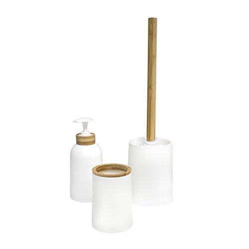 Balvi Set baño Zen Color Blanco Conjunto de 3 Piezas Dosificador de jabón, Vaso y escobilla de baño Plástico PP/bambú