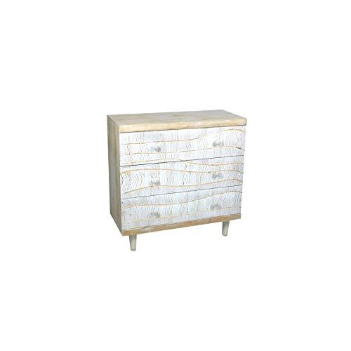 Art Deco Home - Kommode mit 3 Schubladen, Holz, 80 cm - 16070SG