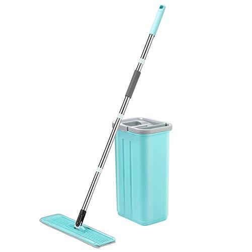 feeilty professionele vlakke vloer Mops met emmer pak hand-gratis wringen vloer schoonmaken Mop Bespaar tijd energie, Robuuste roestvrij handvat voor hardhout, laminaat, tegel vloer schoonmaken