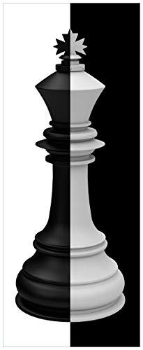 Wallario XXL Poster - Schachfigur schwarz-weiß in Premiumqualität, Größe: 80 x 200 cm