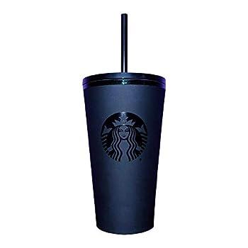 Starbucks Matte Black Acrylic Cold Cup with Emerald Logo & Rim 16oz Grande with Straw