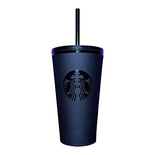 Starbucks Taza fría de acrílico negro mate con logotipo y borde esmeralda, grande de 16 onzas con pajita