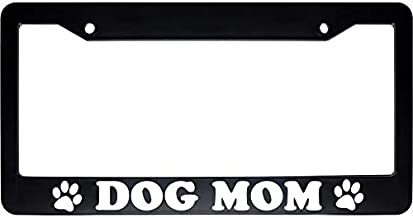 ReplaceMyParts Dog Mom Animal Paws Print Black Car Auto License Plate Tag Frame Holder (2 Holes US Standard)