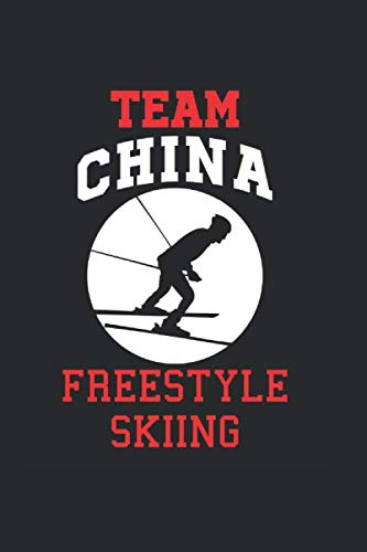 Team China Freestyle Skiing: Cool Animated Design For Ski Player Athletes Lover Any Occasion Notebook Composition Book Novelty G