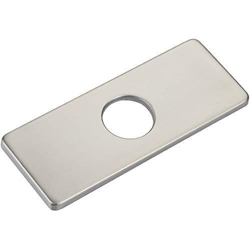 Placa de cubierta de agujero de 6 pulgadas para lavabo de baño, grifo de baño 3 a 1, placa de escudo, rectangular, acero inoxidable