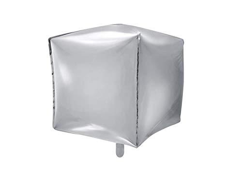 Partydeco - Globo Mylar Foil Cuadrado Plateado Metalizado, 35 cm