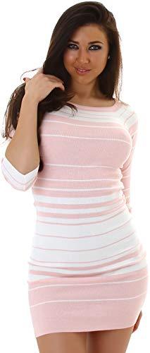 Jela London Damen Feinstrick Strickkleid Stretch-Kleid Pulloverkleid Streifen Minikleid Longpullover 3/4-Arm, Rosa Weiß 34 36 38