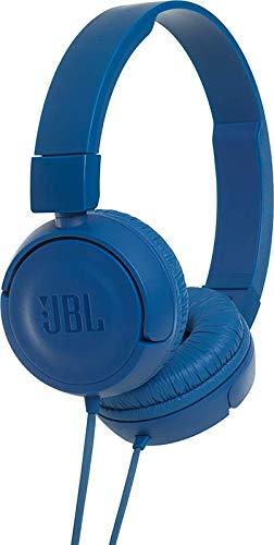 JBL T450 - Auriculares supraaurales con micrófono incluido y cable, control remoto de un solo botón, sonido Pure Bass, azul