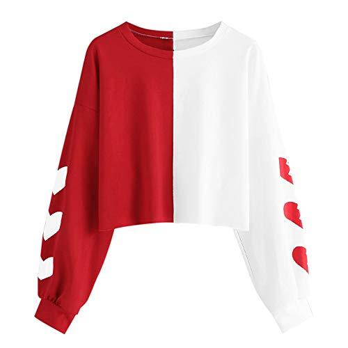 Fanteecy Women's Casual Floral Rose Print Long Sleeve Crop Tops Teen Girls Tops Sweatshirt Blouse Shirts (M, Red)