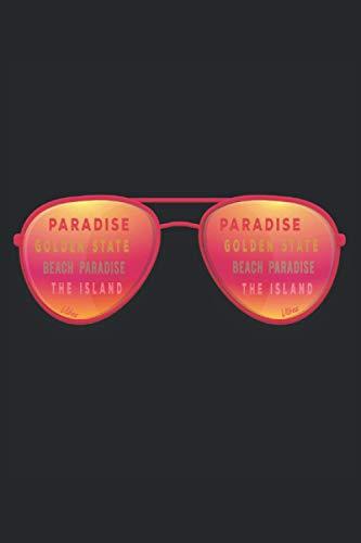 Sonnenbrille Surfen Paradise Golden State Beach Paradise Island: Notizbuch - Notizheft - Notizblock - Tagebuch - Planer - Kariert - Karierter Notizblock- 6 x 9 Zoll (15.24 x 22.86 cm) - 120 Seiten