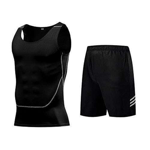 QiHaoHeji Herren Trainingsanzug Sets Herren Rundhals Weste Marathon Multifunktions Anzug 2-teilig Running Sportswear Gym Fitness Bekleidungsset (Farbe: B, Größe: L)