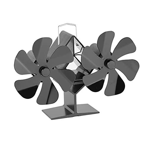 Ventilatori per stufe a legna con 12 foglie, a doppia testa, per stufe a legna, stufa a doppia testa, ventilatori a stufa a caldo per la stanza, ventola efficiente
