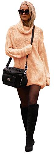 Mikos Damen Strickpullover Sweater Rollkragen Pullover Jumper Strick Pulli Oversize (648) (Apricose)
