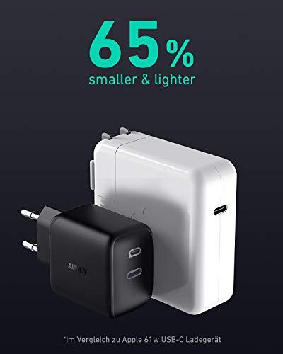 AUKEY Omnia 61W Ladegerät USB C PD-Ladegerät mit GaNFast-Technologie, MacBook Pro Ladegerät, USB C Netzteil Power Delivery 3.0 Laptop Ladegerät für MacBook Pro/Air, iPhone 11 Pro, Dell XPS 13