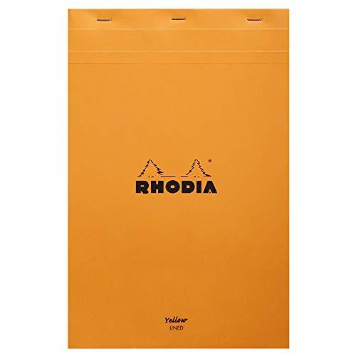 Rhodia 19660C Notizblock (yellow legal pad, DIN A4+, 21 x 31,8 cm, 80 Blatt, gehfetet, gelocht, liniert mit Rand, 80g, 1 Stück) orange