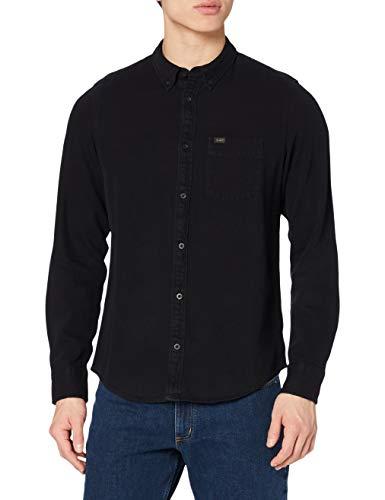 Lee Button Down Camisa, Negro, XXXL para Hombre