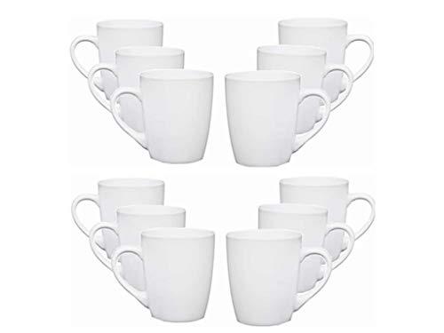 Plain White U Shaped Tea Cup Coffee Mugs 330ml (12oz) Box of 12 Set of 12 Dishwasher Safe (12) (12)