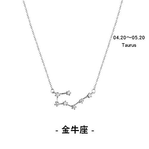 Zwölf Sternbilder Exklusive Halskette Weibliche Reine Silber Schlüsselbein Kette Halskette Für Frauen Mädchen Bester Wunsch Geschenk Stier Halskette