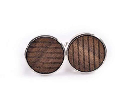 PANGUN Neue Runde Manschettenknöpfe Aus Holz Hochwertige Französische Manschettenknöpfe Personalisierter Musterdruck-A