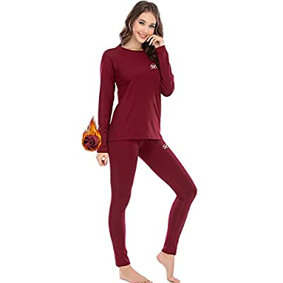 MEETWEE Thermal Underwear for Women, Winter Base Layer Top & Bottom Set Long Johns with Fleece Lined Red