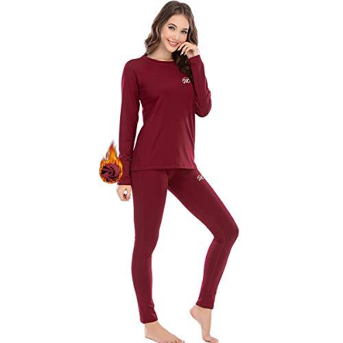 MEETWEE Thermounterwäsche Funktionsunterwäsche Damen, Skiunterwäsche Winter Set Atmungsaktiv Lange Thermo Unterwäsche Suit Thermowäsche Unterhemd + Unterhose