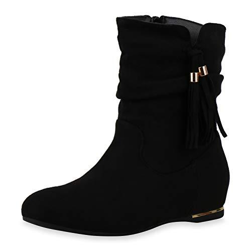 SCARPE VITA Damen Leicht Gefütterte Schuhe Klassische Stiefeletten Fransen Stiefel Quasten Boots Blockabsatz Herbst-Schuhe 197176 Schwarz Black 38