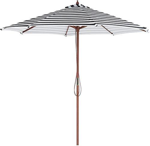 WYH Licht Sonnenschirm schwarz und weiß gestreifte Holzknochen Säule Regenschirm Außenpatio Massivholz-Shade Sonnenschirm Tragbar