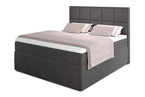 Betten Jumbo Dream Boxspringbett 200x200 mit 7-Zonen TFK Härtegrad H3 und Visco-Topper | Farbe Velour-Grau | div. Größen verfügbar