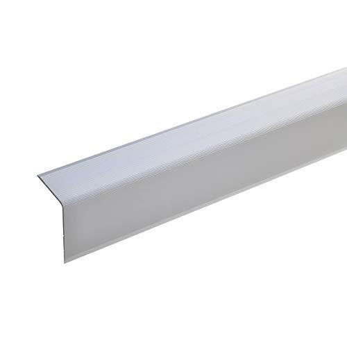 acerto 51009 Aluminium Treppenwinkel-Profil - 100cm 42x30mm silber I Rutschhemmend I Robust I Leichte Montage I Treppenkanten-Profil, Treppenstufen-Profil aus Alu I Treppenprofil I Treppenkantenschutz