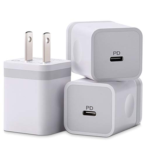 ARCCRA iPhone 12 Charger 20W USB C Charger Power Adapter PD Fast Charger Block for iPhone 12 Mini/12 Pro Max iPhone 11/XS/XR/X/8 iPad Pro AirPods More 3Pack