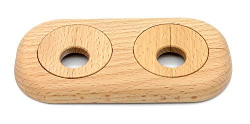 1 Stück Doppel-Rosette für Heizungsrohre, Rohrabstand variabel, Echtholz: Ahorn, Buche, Eiche, Nuss, Abdeckung, Heizkörper, 15mm, 19mm, 22mm, Holz, Parkett, Holzrosette (22mm, Buche)