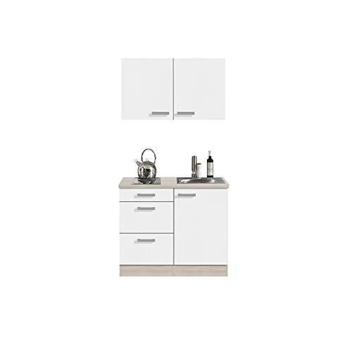 Singleküche BARCELONA - Miniküche mit Elektro-Kochfeld und Spüle - Breite 100 cm - Weiß/Akazie Dekor
