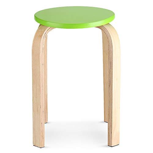 Taburete apilable de madera plegable silla antideslizante color caramelo muebles del hogar...