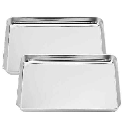 Baking Sheets Pan Set of two for Toaster Oven Tray Kitchen Steamer Nonstick Stainless Steel Non Toxic & Healthy, Mirror Finish & Rust Free Rimmed Baking Cookie Pans(13.9 x 10.4 x 0.8″)