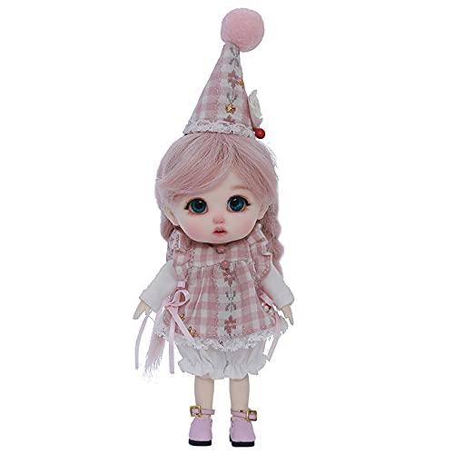 JSBVM 1/12 Mini Girl BJD Doll Juguetes de Bricolaje Muñecas de Resina SD articuladas con Bola con Ropa, Zapatos, Peluca, Maquillaje, Altura aproximada 13.5 cm / 5.3 Pulgadas Lindo bebé