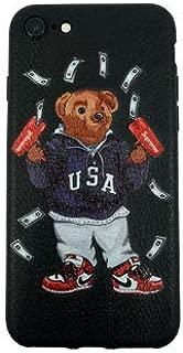 Stylish Bear Custom Fashion Protective Flexible Case/Cover/Skin Leather Finish for iPhone (USA Bear, iPhone 7+/8+)