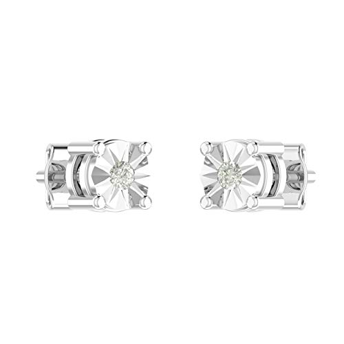 Amayra 925 Sterling Silver Diamond Stud Earring With Butterfly Pushbacks Daily Wear Diamond Earrings for Women - 0.06 Carat in Prong Setting 2 Natural Stones Set for Gift (Color-GH Clarity-VS-SI)
