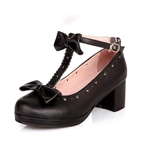 Las mujeres confiables Bombas Dulce Mariposa Nudo Zapatos Soild Punta Redonda Hebilla Correa De La Boca Poco Plataforma Parte Med Tacones, color Negro, talla 36 EU